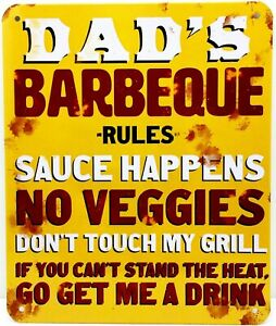 """DADs BARBEQUE RULES - Small Home Decor Metal Plaque Sign  - 7"""" X 6"""""""