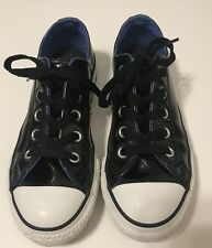 Kids Youth CONVERSE ALL STAR Black and Blue Shiny Patent Leather Size 13