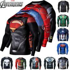 Avengers Bjj Rash Guard Mma Compression Long Short Sleeve Top Men's Base Layer