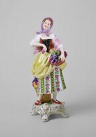 9944297 Porzellan Figur Winzerin Wein-Händlerin Rokoko Kämmer H19cm