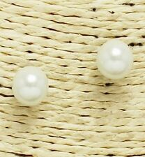 Small Silver and White Pearl Stud Earrings