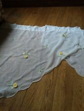 white sheer with yellow roses  curtains (2 panels 34.5 each)