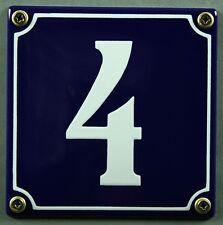 """Blaue Emaille Hausnummer """"4"""" 12x12 cm Hausnummernschild sofort lieferbar Schild"""