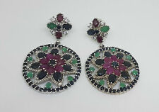HUGE GENUINE HEATED ASIA BLUE SAPPHIRE RUBY EMERALD STERLING 925 SILVER EARING