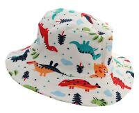 Baby Boy Girl Cotton Colourful Dinosaurs Summer Sun Hat Chin Strap Age 1 2 3 4 5