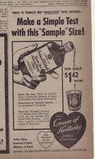 1953 newspaper ad for Cream of Kentucky whiskey - Sample Size taste test