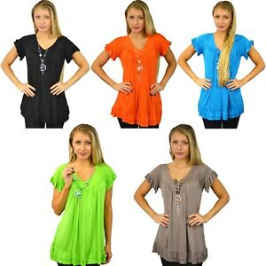 WOMENS LADIES PLAIN FRILL TOP WITH NECKLACE FASHION PARTY BLOUSE SUMMER TOPS