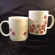 Pair (2) Starbucks 2013 Holiday Coffee Mug Poinsettias Geometrics Red Tan Gold