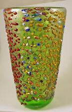NEW MURANO MURRINE RILIEVO LARGE VASE ITALIAN ART GLASS OF VENICE MURANO ISLAND