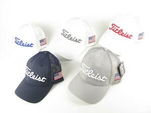 NEW Titleist Mesh Adjustable Golf Hats with USA Flag