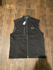 NWT Johnnie-O University of Miami Hurricanes Zip Up Fleece Vest Large