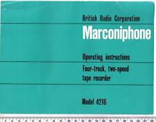 BRC Marconiphone 4216 Reel to Reel Operating Instructions / Guide / Manual