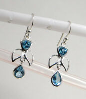 """Natural Blue Topaz Gemstone jewelry 2.7g 925 Sterling Silver Earring 1.2"""" ME2163"""