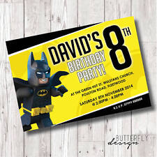 Kids Lego Batman Birthday Party Personalised Invitations x 8