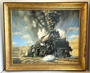 Peter Everitt Original Oil On Canvas Landscape With Steam Train X4019