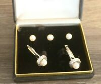 14kt WHITE GOLD Pearl Cuff Links & STUD SET