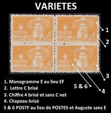 VIETNAM du NORD  N°5 (*) VARIETES sur Bloc de 4, North Vietnam PAVIE ERRORS NGAI