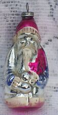 VINTAGE SANTA CLAUS HOLDING CHRISTMAS FEATHER TREE GLASS ORNAMENT
