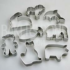 Formes animaux ensemble de 8 metal cookie cutters chien chat lapin biscuit ours poisson