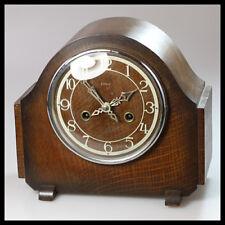 SMITHS ENFIELD England Wooden Brass Mantel Shelf Mechanical Wind up Clock Chimes