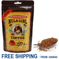 Hula Girl 100% KONA COFFEE FREEZE DRIED INSTANT Granulated 1 POUCH / Bag 1.75oz