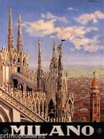 ITALY MILANO MILAN CATHEDRAL TOURISM ITALIAN TRAVEL VINTAGE POSTER REPRO