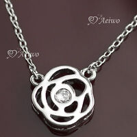 18K GF WHITE GOLD MADE WITH SWAROVSKI CRYSTAL ROSE PENDANT CIRCLE NECKLACE