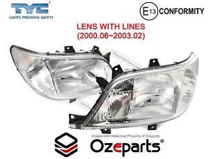 Pair LH+RH Head Light Lamp W/ Lines For Mercedes Benz Sprinter Van 2000~2003