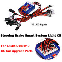 1 Set 12 LED Lights Steering Brake Smart Flash Light For TAMIYA 1/8 1/10 RC Car