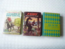 THREE 1959 GOLDEN PRESS FICTION SERIES BOOKS - RIN TIN TIN / WELLS FARGO / FURY