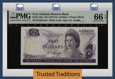 Tt Pk 164c 1975-77 New Zealand 2 Dollars Queen Elizabeth Ii Pmg 66 Epq Gem Unc!