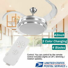 "42"" Retractable Ceiling Fan Lamp w/ Light Remote Control Dimmable LED Chandelier"