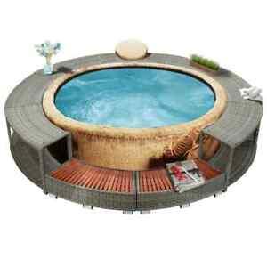 vidaXL Whirlpool Umrandung mit Stauraum Grau Poly Rattan Spa Poolumrandung
