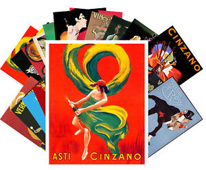 24 Postkarten Set *Chinzano und Martini Illustration Retro Plakat Vintage CC1020