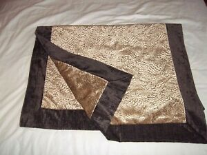 Gorgeous brown beige chenille heavy fabric bed runner cover throw 84 x 244 cm
