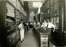 LEATHER FACTORY/STORE INTERIOR WITH CLERKS POISING FOR THE CAMERA ANTIQUE PHOTO