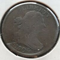 1804 Draped Bust Half Cent 1/2 Cent CUD ON REV. SPIKED CHIN Better Grade #2400