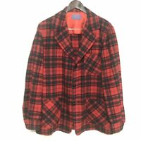 Pendleton Red Tartan Blazer Topster Smoking Lounge Jacket  Wool Vtg Sz M 60s USA