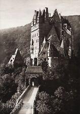 1924 Vintage GERMANY Eltz Castle Moselle River Landscape Photo Art By HIELSCHER
