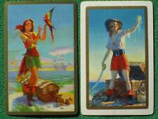 Pinup Art Beautiful Pirate Girls w/ Treasure Chests Eggleston Vintage Swap Cards