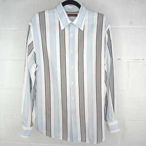 Perry Ellis Dress Shirt Men Size L Blue Cotton