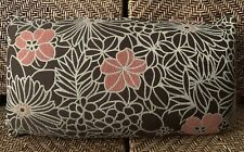 Decorative Throw Pillow Botanical Floral Brown Peach Beige 24x14x6 New Beautiful