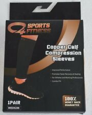 Copper Calf Compression Sleeves 1 Pair Medium Nib C4 Sports Fitness