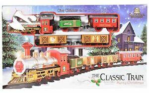 Kids Christmas Toy Train Classic Musical Gift Set Rail Track Light & Sound Gift