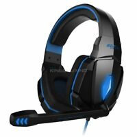 3.5mm Gaming Headset Stereo Surround Headphones LED USB with Mic For PC Blue
