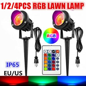 4PCS 20W RGB LED Flood Light Outdoor Garden Landscape Path Lawn Lamp EU/US