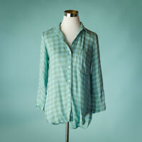 Bella Dahl Small Size S Top Plaid Gingham Button Down Pleated Back Long Sleeve