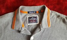 Superdry Mens London Fit 100% Cotton Polo T Shirt Grey Orange Size Small