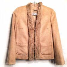 Max Mara Piano Forte Woman's Fur Trim Camel Hair Coat Jacket Size 38 USA 04