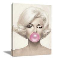Marilyn Monroe Bubble Gum Canvas Print Framed Wall Art Living Room Bedroom Decor